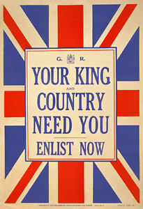 W80-Vintage-WWI-British-King-Country-Need-You-Enlist-War-Poster-WW1-A1-A2-A3