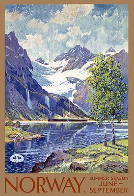 "TT43 Vintage Norway Norwegian Travel Poster Print A3 17""x12"" Re-Print"