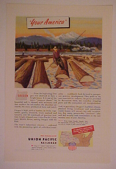 1945 UNION PACIFIC RAILROAD~TRAIN OREGON AMERICA AD