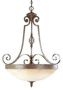 2 Bronze Chandeliers with frosted glass