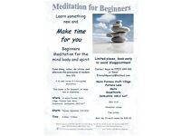 Try Something NEW. Beginners Relaxation Meditation Class. Take time out to unwind and relax