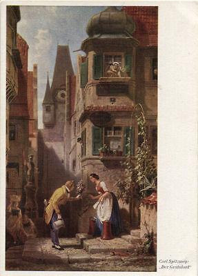 Alte Kunstpostkarte - Der Gratulant von Carl Spitzweg