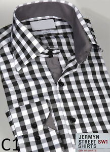Mens Formal Italian Slim Fit Shirt Contrast Collar Cuff S M L XL XXL 3XL 4XL