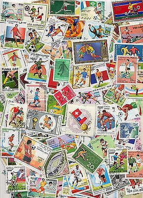 HUGE COLLECTION OF 300 DIFFERENT POSTAGE STAMPS SHOWING SOCCER - FOOTBALL!