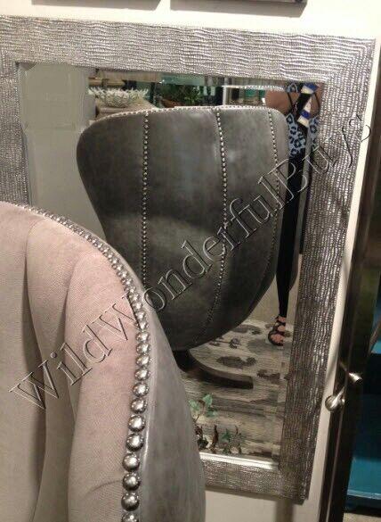 Wavy Textured Wall Mirror Silver Gray 42H Designer Vanity Be