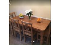 Solid Pine table and 4 chairs