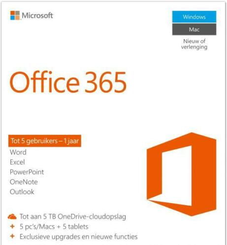 Microsoft Office 365 Home 5 apparaten (PC/MAC) 1 jaar