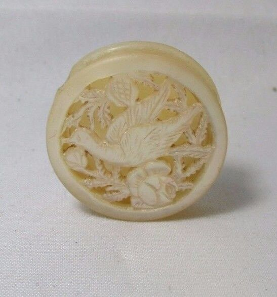 HAND CARVED BIRD,Round, Needle & Pin Case  MOTHER-of-PEARL;ANTIQUE c1800