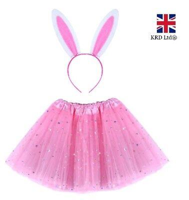 Kids PINK EASTER BUNNY Fancy Dress Costume Ladies TUTU EARS Accessory Set New UK