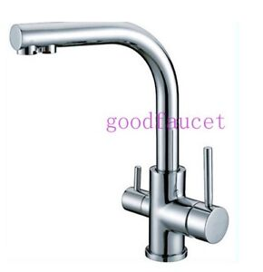 Brand NEW Kitchen Sink Faucet TAP Pure Water Filter Mixer Dual Handles Chrome