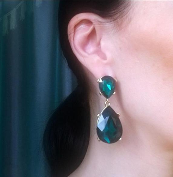 Long Green Flower Women Elegant Fashion Earrings Drop Dangle Crystal Jewelry New 3