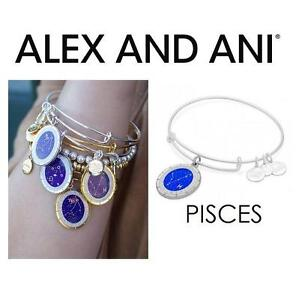 NEW ALEX AND ANI PISCES BRACELET JEWELLERY - JEWELRY - CELESTIAL WHEEL CHARM BANGLE - SHINY SILVER 102935747