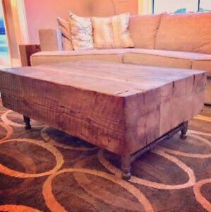 3 Beam Coffee Table Reclaimed old barn beams