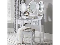 White Dressing Table, Stool & Mirror | 7 draws 3 mirrors