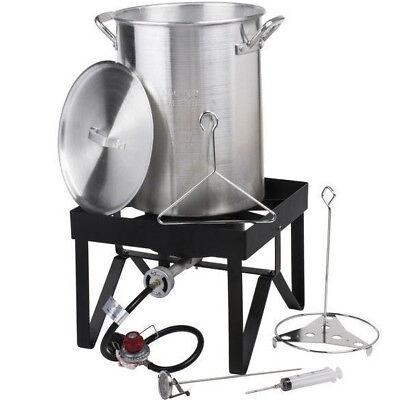 30 Qt Aluminum Turkey Deep Fryer Kit Stock Pot Propane LP Outdoor Range -