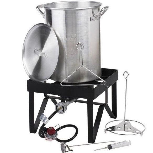 30 Qt Aluminum Turkey Deep Fryer Kit Stock Pot Propane LP Ou