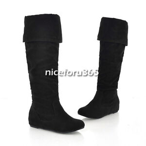 N4U8 Hot elegant Women UP Flats Inside Flat Heel Mid-Calf Boots Snow Boots Shoes