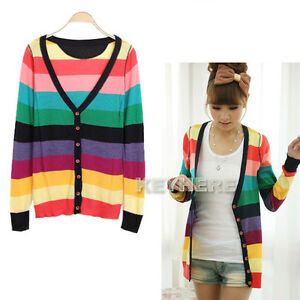 New Women Korean Fashion Colorful stripes deep V-neck knit cardigan Sweater K0E1