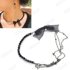 Fashion-Womens-Beautiful-Retro-Bow-Lace-Black-Attractive-Fashion-Necklace