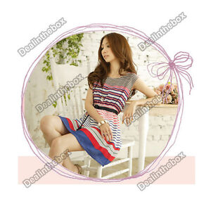 Womens-Summer-Colorful-Stripes-Party-Mini-Dress-With-Belt-Short-Sleeve-Dress