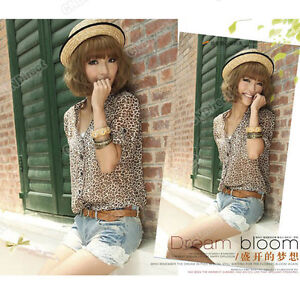 Korea-Cute-Leopard-Print-V-Neck-Turn-up-Cuff-Thin-Long-Sleeve-Pretty-Shirt