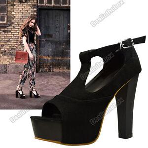 Womens-Vogue-High-Heels-Platform-T-strap-Sandals-Summer-Shoes-Wood-Outsole-HOT