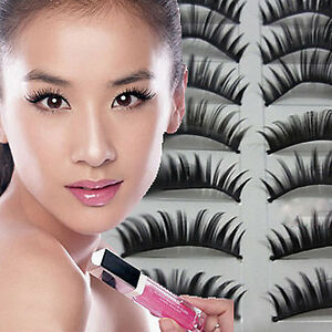 10-Pairs-of-Thick-Natural-Fake-False-Eyelashes-Eye-Lashes-flexible-Fashion-UK