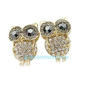 Elegant Retro Owl Cute Rhinestone Stud Earrings New