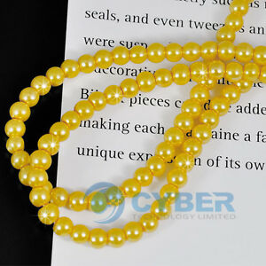 220pcs-Faux-Glass-Round-Pearl-Loose-Beads-4mm-Yellow