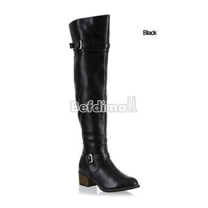 Women's Metal Buckle Synthetic Leather Over The Knee High Flat  Boots Shoes BE0D