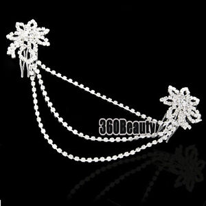 B5UT Silvery  Rhinestone Flower Double Bridal Hair Comb Pin Wedding Tiara good