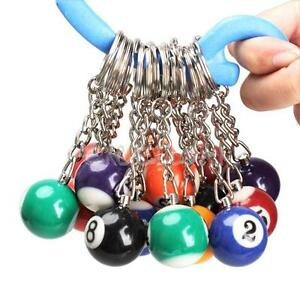 Set-of-16-Billiard-Pool-Pendant-Keychain-Snooker-Table-Ball-Key-Ring-Gift-E0Xc