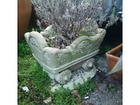 masonry garden or patio cart pot or ornament with Lavender plant