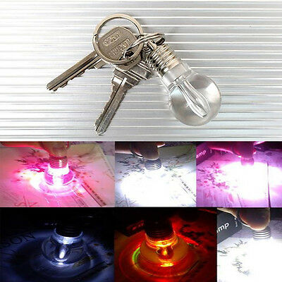 7 Colors Changing LED Mini Bulb Flash Lights Key Chain KeyRing Xmas Party Torch