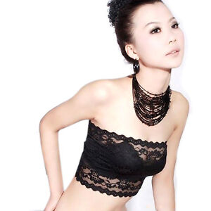 Sexy Fashion Girls Lace Bandeau Tube Top Wrap Chest Strapless Black New