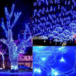 300 led 50m guirlande lumineuse bleu light lampe no l f te d co exterieur 220v ebay. Black Bedroom Furniture Sets. Home Design Ideas