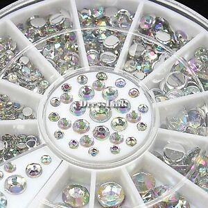 300pcs-12-Griglia-Arcobaleno-Glitter-Strass-Perline-Nail-Art-Decorazione-Ruota