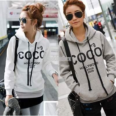 TOP New Women Long Sleeve Hoodie Sweatshirt Sweater Casual Hooded Coat Pullover