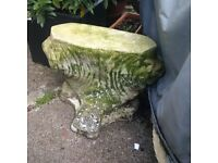 weathered heavy masonry garden planter or pot stand