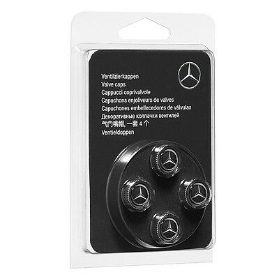 Ventilzierkappen Set 4-teilig chrom/ schwarz glänzend Original Mercedes-Benz NEU