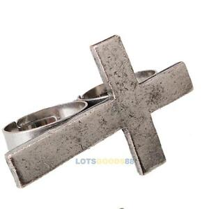 Vintage-Cross-Double-Two-Finger-Ring-Adjustable-Silver