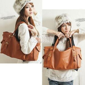 NEW Cool Retro Style Lady Large Shoulder Handbag PU Leather Tote Hobo Bag