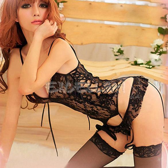 Women Sexy Lingerie Lace Dress Nightwear Underwear Babydoll Sleepwear + G-string