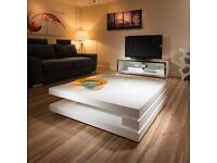 Coffee table - modern style white gloss 1.2 m