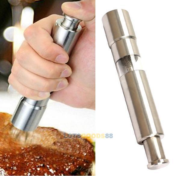 New Stainless Steel Thumb Push Salt Pepper Spice Sauce Grinder Mill Muller Stick
