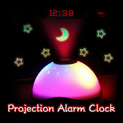 Starry Digital Magic LED Projection Alarm Clock Night Light Color Changing Lamp
