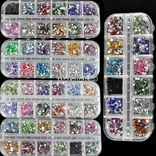 1800pcs Brillantini Strass Adesivi Glitter Unghie Decorazione Nail Art SA88