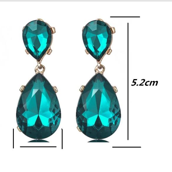 Long Green Flower Women Elegant Fashion Earrings Drop Dangle Crystal Jewelry New 4