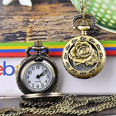 Kyпить Antique Bronze Sterling Rose Hollow Vintage Necklace Chain Watch Clock Pocket на еВаy.соm
