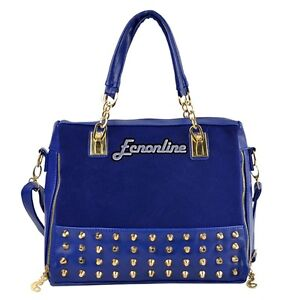 Hobo Fashion Retro Blue Black Fuax Leather Shoulder Tote Rivet Handbag Bag Purse